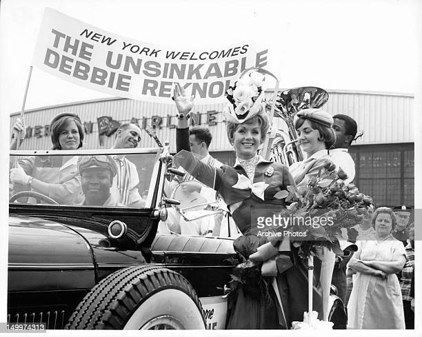 Debbie Reynolds arrives at LaGuardia Airport for promotional activities on behalf of the film 'The Unsinkable Molly Brown' 1964