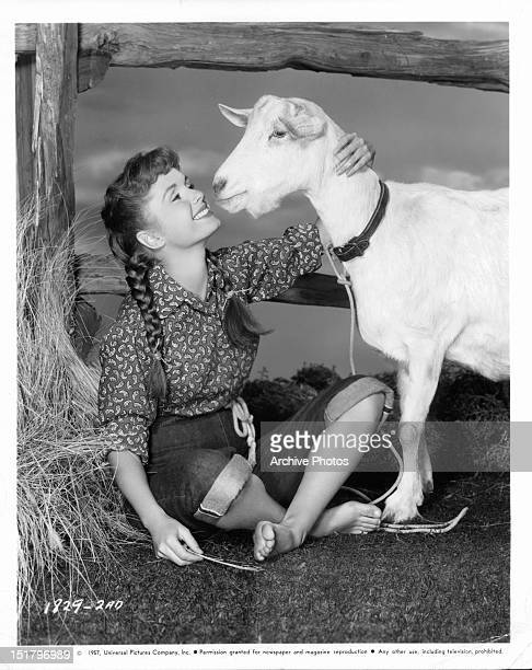 Debbie Reynolds with a goat in a promotional portrait for the film 'Tammy And The Bachelor' 1957