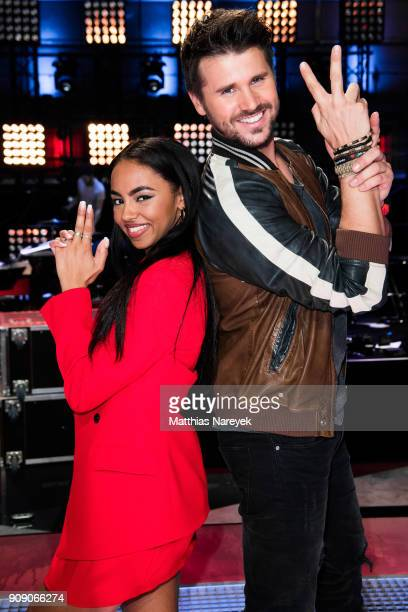 Debbie Schippers and Thore Schoelermann pose during the 'The voice Kids' photo call at Studio Adlershof on January 22 2018 in Berlin Germany
