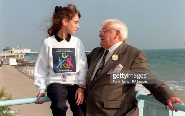 Debbie Simmons Chairwoman of the International Children's Conference with the conference's Senior Chairman Maurice Skilton on the beach at Eastbourne...