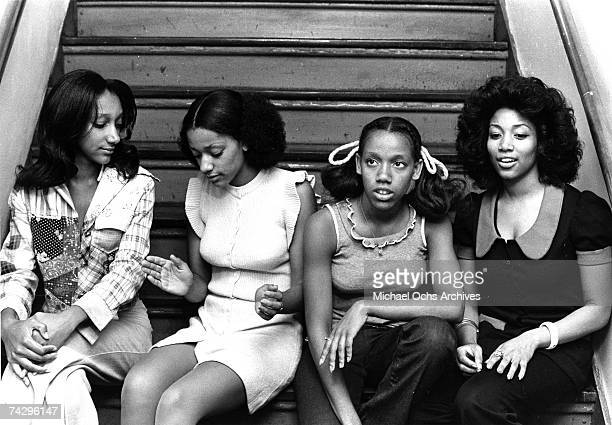 Debbie Sledge Joni Sledge Kathy Sledge and Kim Sledge of the vocal group Sister Sledge pose for a portrait in circa 1972