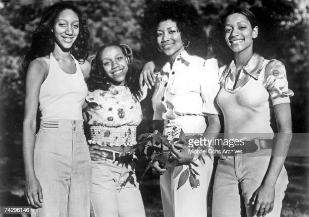Debbie Sledge Kathy Sledge Kim Sledge and Joni Sledge of the vocal group Sister Sledge pose for a portrait in circa 1974