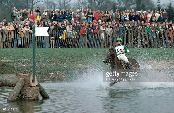 Debbie West of Great Britain and her mount Benjie in the Park Pond during the Badminton Horse Trials in Gloucestershire on 10th April 1976