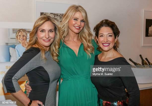 Debbie White Christie Brinkley and Randi Zuckerberg pose backstage at the Merz Aesthetics Women Empowerment Panel at Avra Restaurant on February 26...