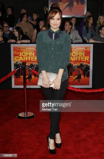Debby Ryan arrives at the world premiere of Disney's John Carter held at Regal Cinemas LA Live on February 22 2012 in Los Angeles California