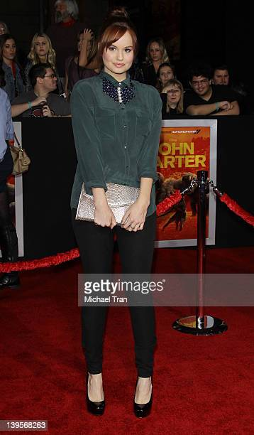 Debby Ryan arrives at the world premiere of Disney's John Carter held at Regal Cinemas LA Live on February 22 2012 in Los Angeles California
