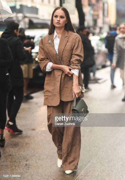 Debby Ryan is seen wearing a Phillip Lim suit outside the 31 Phillip Lim show during New York Fashion Week Women's S/S 2019 on September 10 2018 in...