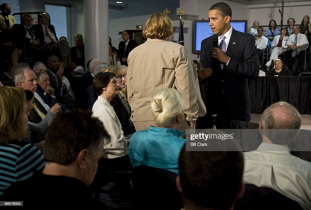 Debby Smith, 53, of Appalachia, Va., talks to President Barack Obama about her battle with cancer and the healthcare system during his Healthcare Town Hall and Online Town Hall Meeting at the Annandale Campus of the Northern Virginia Community College on Wednesday, July 1, 2009.