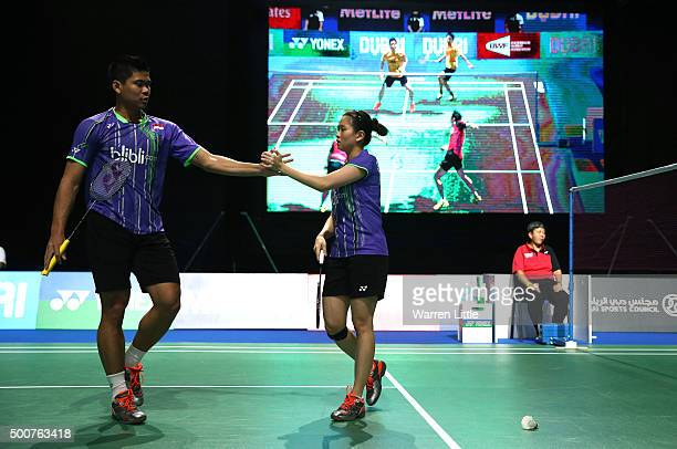 Debby Susanto and Praveen Jordan of Indonesia in action against Sung Hyun Ko and Ha Na Kim of Korea in the Mixed Doubles match during day two of the...
