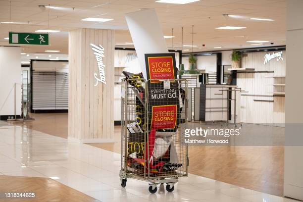 Debenhams store on the day it closes for the last time on May 15, 2021 in Cardiff, Wales. After entering administration twice in April 2019 and April...