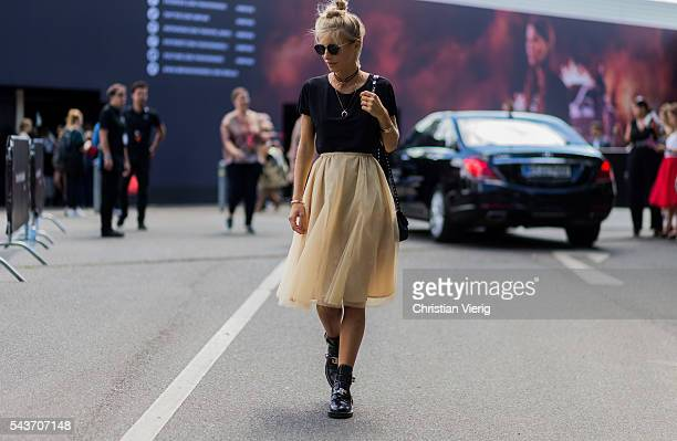 Debi Fluegge during the MercedesBenz Fashion Week Berlin Spring/Summer 2017 on June 29 2016 in Berlin Germany