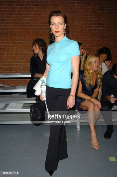 Debi Mazar during Olympus Fashion Week Spring 2005 Lacoste Front Row at The Waterfront in New York City New York United States