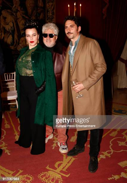 Debi Mazar Pedro Almodovar and Paco Leon attend the front row of Palomo Spain show during Mercedes Benz Fashion Week Madrid Autumn / Winter 2018 on...