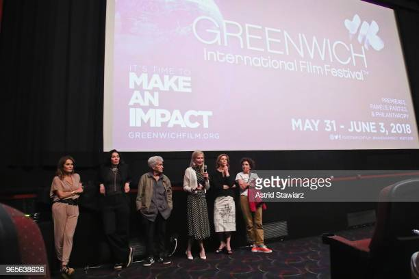 Debi Wisch Amy Cappellazzo Larry Poons Jennifer Stockman Carla Solomon and Paula Poons speak during a screening and QA for the Opening Night Film...