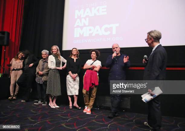 Debi Wisch Amy Cappellazzo Larry Poons Jennifer Stockman Carla Solomon Paula Poons and Nathanial Kahn speak during a screening and QA for the Opening...