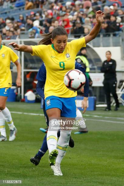 Debinha of Brazil plays during the 2019 SheBelieves Cup match between Brazil and Japan at Nissan Stadium on March 2 2019 in Nashville Tennessee
