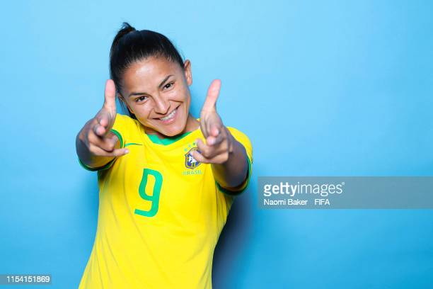 Debinha of Brazil poses for a portrait during the official FIFA Women's World Cup 2019 portrait session at Grand Hotel Uriage on June 06 2019 in...
