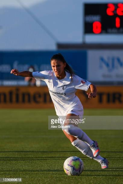 Debinha of North Carolina Courage in action during a game against the Sky Blue FC on day 8 of the NWSL Challenge Cup at Zions Bank Stadium on July 13...