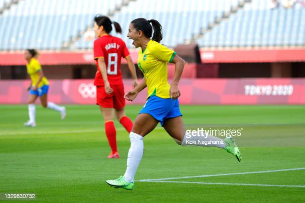 Debinha of Team Brazil celebrates after scoring their side's second goal during the Women's First Round Group F match between China and Brazil during...