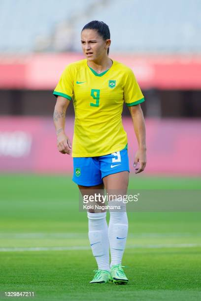 Debinha of Team Brazil looks on during the Women's First Round Group F match between China and Brazil during the Tokyo 2020 Olympic Games at Miyagi...