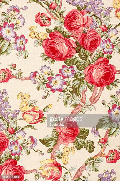Débonnaire Gros plan de tissu fleuri vintage