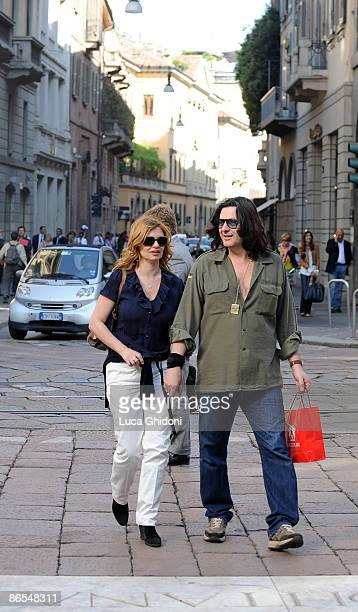 Debora Caprioglio and Angelo Maresca are seen shopping on May 7 2009 in Milan Italy