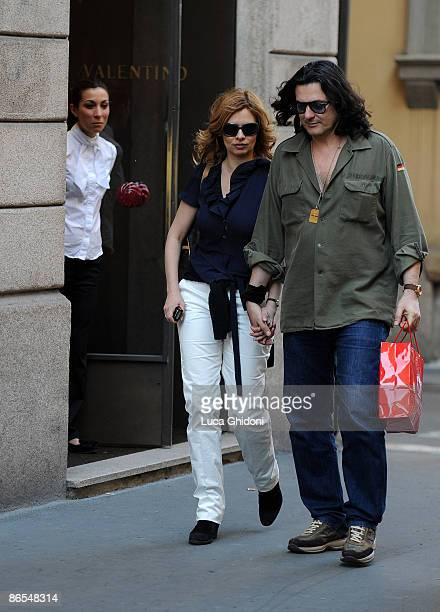 Debora Caprioglio and Angelo Maresca are seen shopping on May 7, 2009 in Milan, Italy.