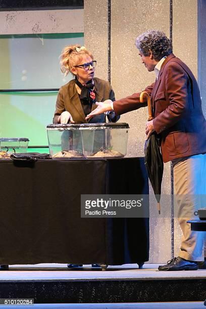 "Debora Caprioglio and Gianfranco Jannuzzo during presentation in Napoli. Gianfranco Jannuzzo and Debora Caprioglio staged in Naples with ""Lei e`..."