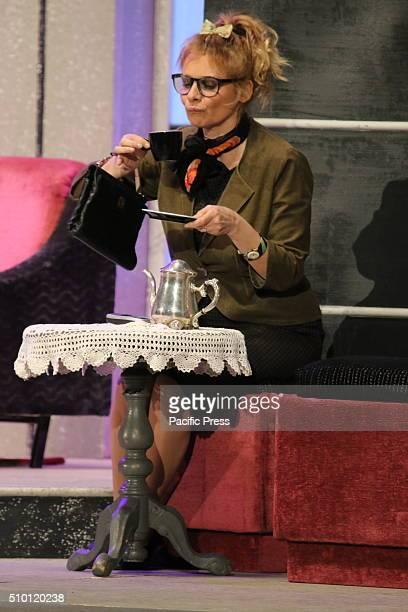 """Debora Caprioglio during presentation in Napoli. Gianfranco Jannuzzo and Debora Caprioglio staged in Naples with """"Lei e` ricca, la sposo e lÕammazzo""""..."""