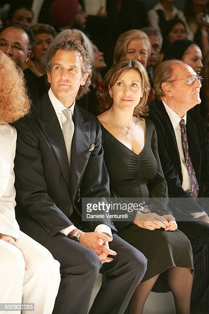Debora Compagnoni and Alessandro Benetton during United Colors of Benetton 40th Anniversary Fashion Show at Centre Pompidou in Paris France