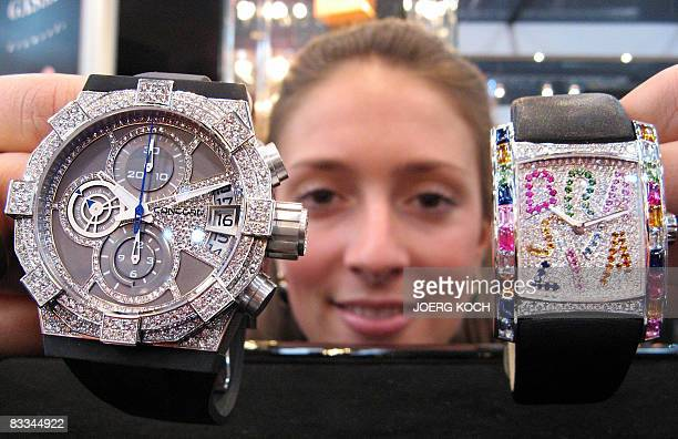 Debora presents the watches Brasilia Caipirinha made by manufacturer Ebel and C1 Chronograph High Jewelry by Concord at the Millionaire Fair Munich...