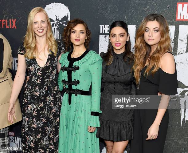 Deborah Ann Woll Amber Rose Revah Floriana Lima and Giorgia Whigham arrive at Marvel's The Punisher Los Angeles Premiere at ArcLight Hollywood on...