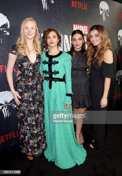 Deborah Ann Woll Amber Rose Revah Floriana Lima and Giorgia Whigham attend Marvel's The Punisher Seasons 2 Premiere at ArcLight Hollywood on January...