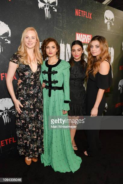 "Deborah Ann Woll, Amber Rose Revah, Floriana Lima and Giorgia Whigham attend Marvel's ""The Punisher"" Los Angeles Premiere at ArcLight Hollywood on..."
