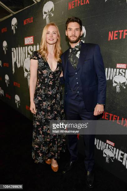 "Deborah Ann Woll and Ben Barnes attend Marvel's ""The Punisher"" Los Angeles Premiere at ArcLight Hollywood on January 14, 2019 in Hollywood,..."