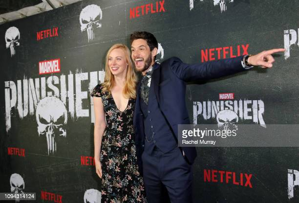 """Deborah Ann Woll and Ben Barnes attend """"Marvel's The Punisher"""" Seasons 2 Premiere at ArcLight Hollywood on January 14, 2019 in Hollywood, California."""