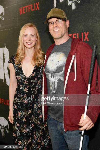 Deborah Ann Woll and EJ Scott attend Marvel's The Punisher Los Angeles Premiere at ArcLight Hollywood on January 14 2019 in Hollywood California