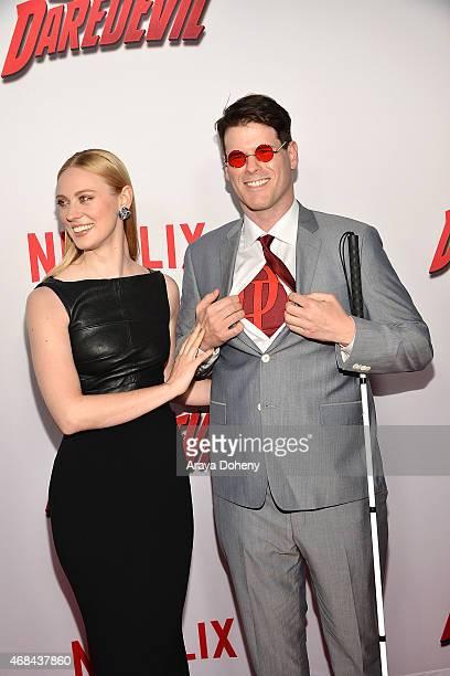 Deborah Ann Woll and EJ Scott attend the Los Angeles premiere of Netflix's new original series Marvel's Daredevil at Regal Cinemas LA Live on April 2...