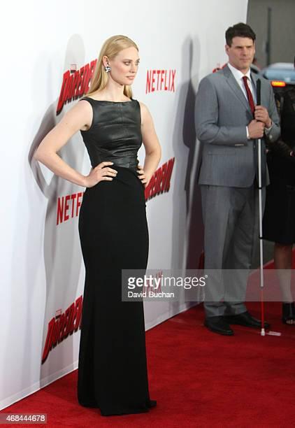 Deborah Ann Woll and EJ Scott attend the premiere of Netflix's Marvel's Daredevil at Regal Cinemas LA Live on April 2 2015 in Los Angeles California