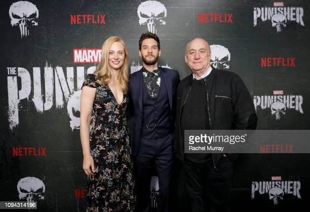 """Deborah Ann Woll, Ben Barnes and Jeph Loeb attend """"Marvel's The Punisher"""" Seasons 2 Premiere at ArcLight Hollywood on January 14, 2019 in Hollywood,..."""