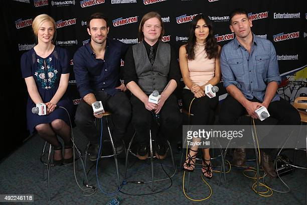 Deborah Ann Woll Charlie Cox Elden Henson Elodie Yung and Jon Bernthal visit the SiriusXM Studios during New York ComicCon at The Jacob K Javits...