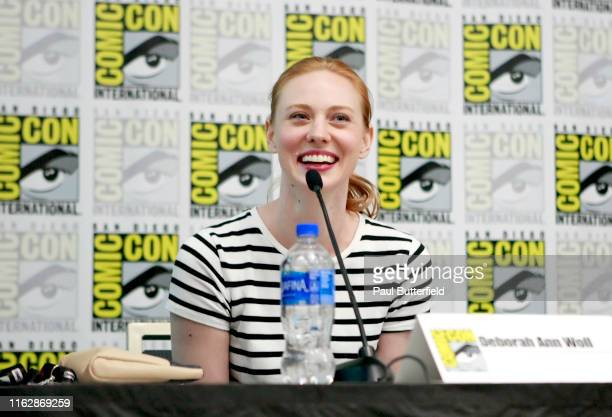 Deborah Ann Woll speaks at the All Things RPG-E: Geek & Sundry panel during 2019 Comic-Con International at San Diego Convention Center on July 18,...