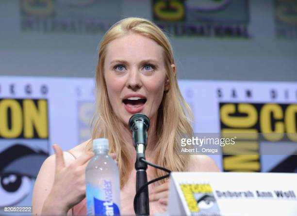 Deborah Ann Woll speaks onstage at Netflix's 'The Defenders' panel during ComicCon International 2017 at San Diego Convention Center on July 21 2017...