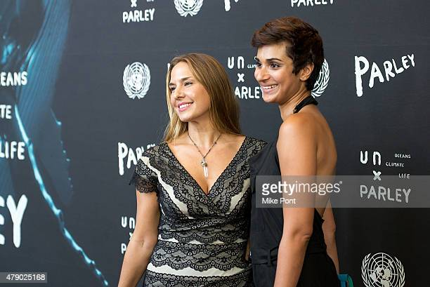 Deborah Bassett and Asher Jay attend the President of the General Assembly of the United Nations and Parley for the Oceans launch event at the United...