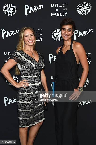 Deborah Bassett and Asher Jay attend the United Nations x Parley For The Oceans Launch Event at the United Nations General Assembly Hall on June 29...