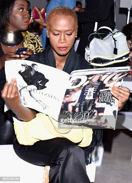 Deborah Bernard attends the Irina Vitjaz fashion show during New York Fashion Week The Shows September 2016 at The Gallery Skylight at Clarkson Sq on...