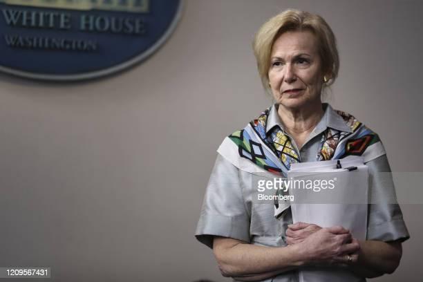 Deborah Birx coronavirus response coordinator attends a Coronavirus Task Force press briefing at the White House in Washington DC US on Thursday...