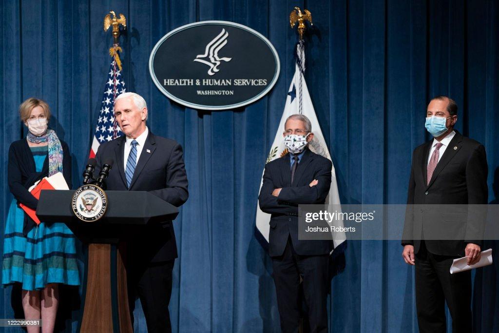Vice President Pence Leads Coronavirus Task Force Briefing : News Photo