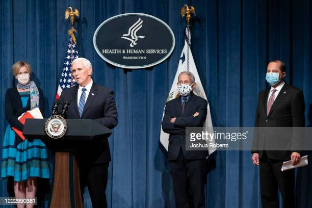 Deborah Birx, coronavirus response coordinator for the White House Coronavirus Task Force, Vice President Mike Pence, Director of the National...