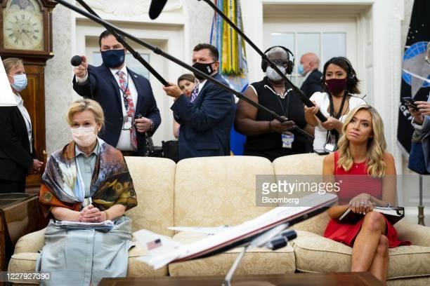 Deborah Birx coronavirus response coordinator left and Kayleigh McEnany White House press secretary listen during a meeting between US President...